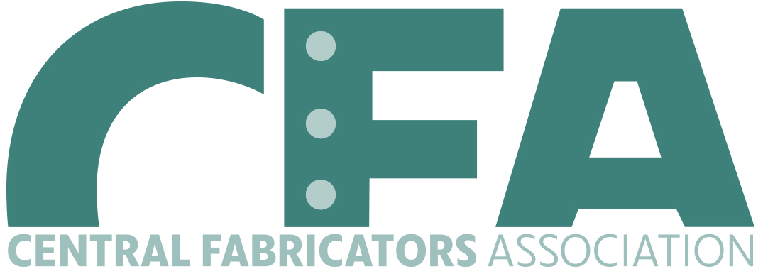 Logo for Central Fabricators Association. White background with green lettering