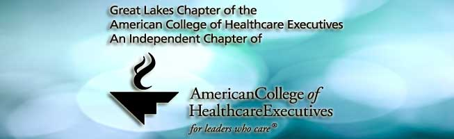 Blue black ground with black lettering of the logo for the Great Lakes American College of Health Care Executives