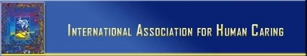 Blue background with yellow lettering. Logo for International Association for Human Caring